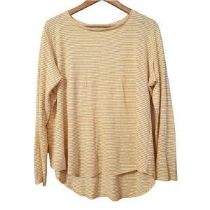Eileen Fisher Organic Linen Striped Mustard Yellow Long Sleeve Top Blouse Size M